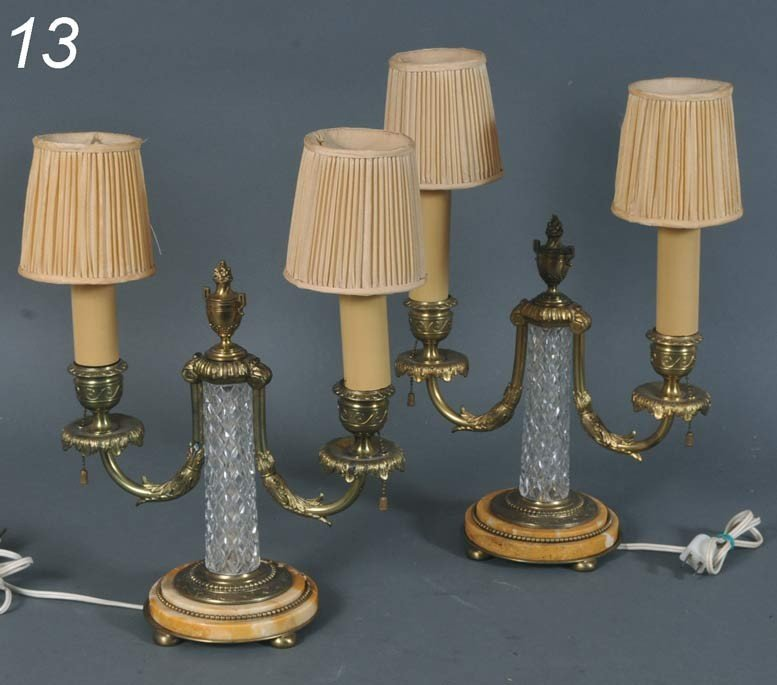 "13: PAIR PAIRPOINT CANDLESTICK LAMPS 12"" high   Shippin"