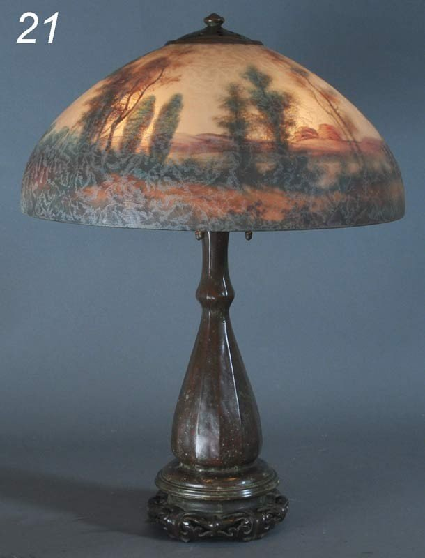 21: HANDEL REVERSE PAINTED TABLE LAMP with scenic shade