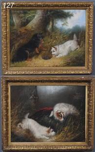"""127: GEORGE ARMFIELD (pair) Cairn Terriers each 12""""x 16"""
