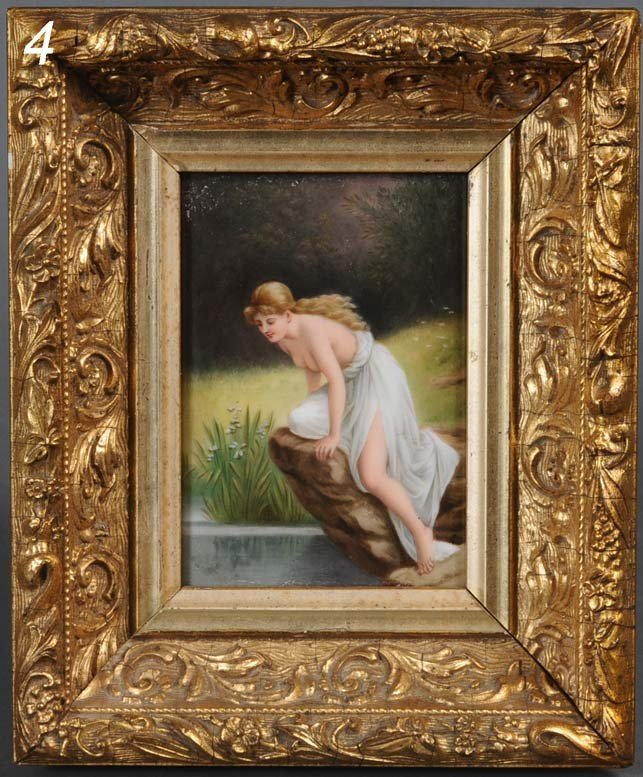 4: GERMAN PORCELAIN PAINTED PLAQUE Psyche at Nature's M