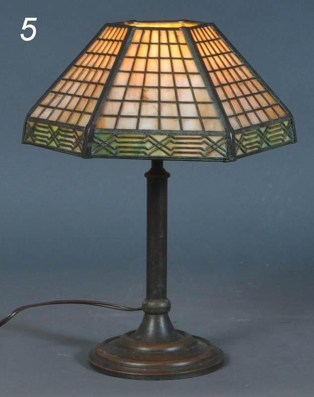 5: HANDEL OVERLAY DESK LAMP with Arts and Crafts motif