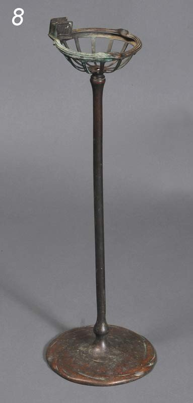 "8: TIFFANY STUDIOS BRONZE ASH STAND model 1649, 28"" hig"