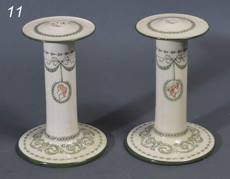 11: PAIR OF ROYAL DOULTON CANDLESTICKS Paxton pattern 9