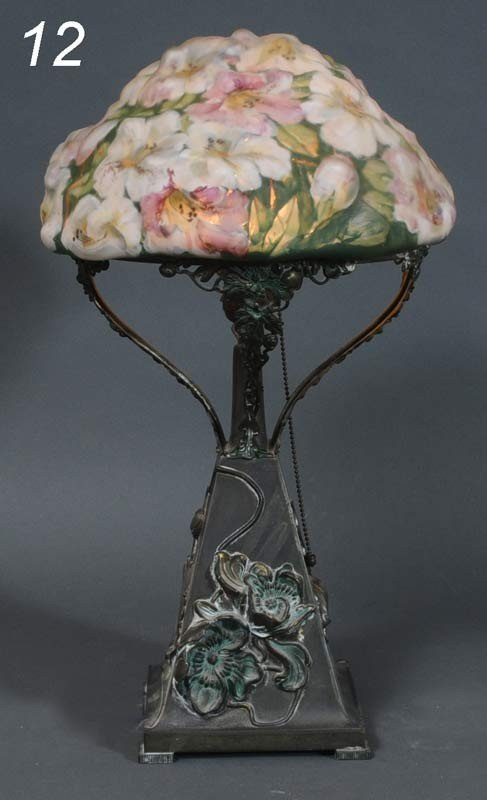 "12: PAIRPOINT ""PUFFY"" TABLE LAMP with floral decoration"