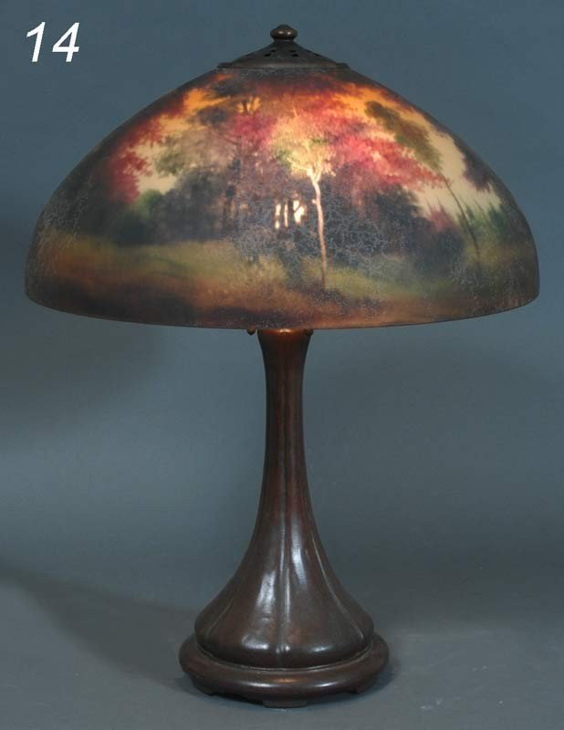 "14: HANDEL REVERSE PAINTED SCENIC TABLE LAMP 17"" diamet"