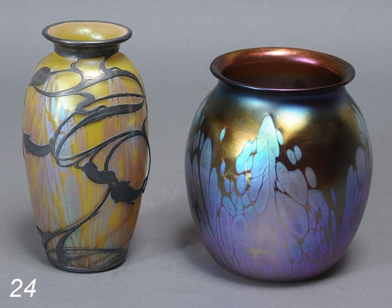 24: PAIR OF AUSTRIAN ART GLASS VASES attributed to Loet