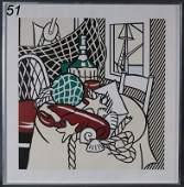 """51: ROY LICHTENSTEIN Still Life with Lobster, 1974 32""""x"""