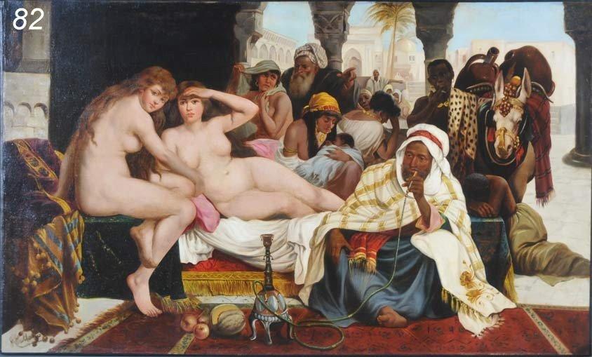 82: JOHN CALIFANO Orientalist Scene with Slave Girls 29