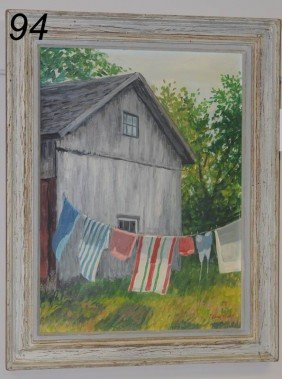 "EDNA EICKE The Laundry Line 19"" X 14"" Oil On Board,"