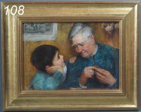 AMERICAN SCHOOL Portrait Of A Boy With Grandfather