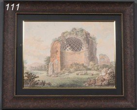 "ITALIAN SCHOOL Sheppard At The Ruins 14""x 18 1/2"""