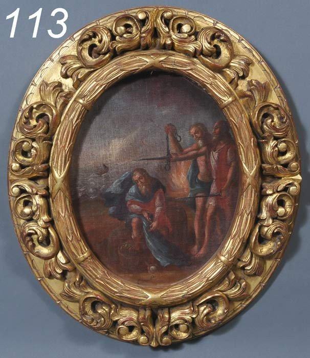 "113: SPANISH SCHOOL John The Baptist 17""x 14"" oil on ca"