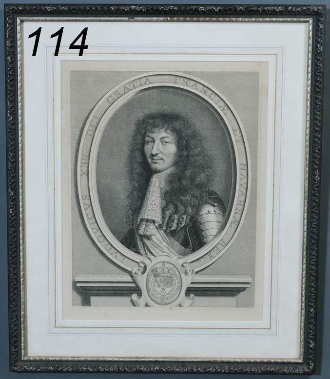 114: ROBERT NANTEUIL Portrait of Louis XIV engraving, 1