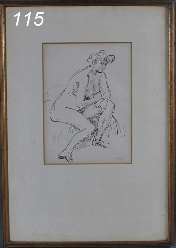 "115: AUGUSTUS E. JOHN Nude Study, 14"" x 10 1/2"" ink on"