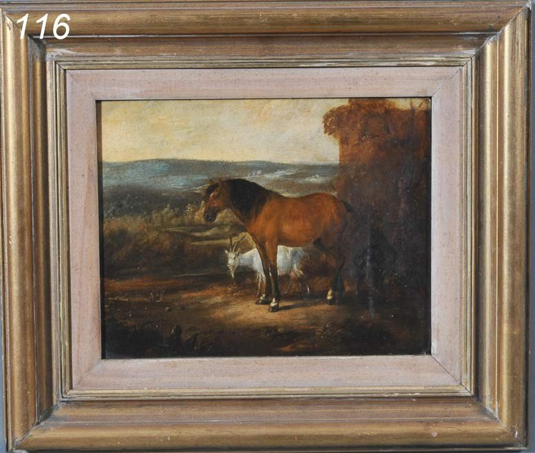 """116: ENGLISH SCHOOL Horse with two goats, 11 1/2""""x14 1/"""