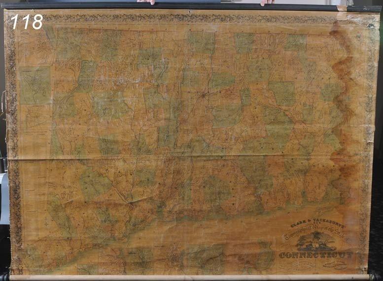 118: SCHOOLHOUSE MAP OF CONNECTICUT Clark and Tackabury