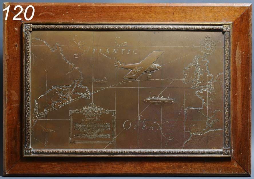 120: CHARLES LINDBERGH BRONZE PLAQUE presented to Raymo
