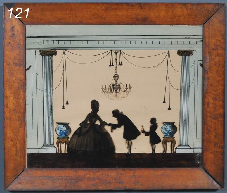 """121: FEDERAL REVERSE PAINTED PICTURE interior scene 20"""""""