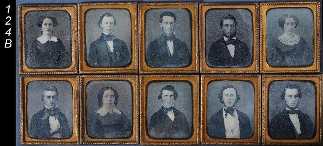 124B: FAMILY GROUP OF 10 CASED DAGUERROTYPES each 3 1/4