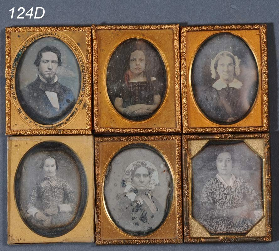 124D: FAMILY GROUP OF 6 CASED DAGUERROTYPES, largest 2