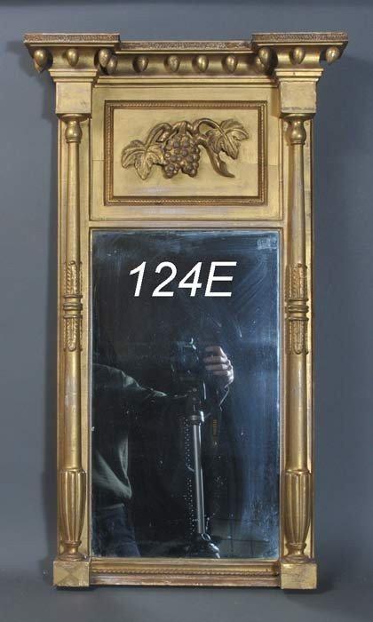 """124E: FEDERAL GILTWOOD MIRROR 39"""" high circa 1820   Shi"""