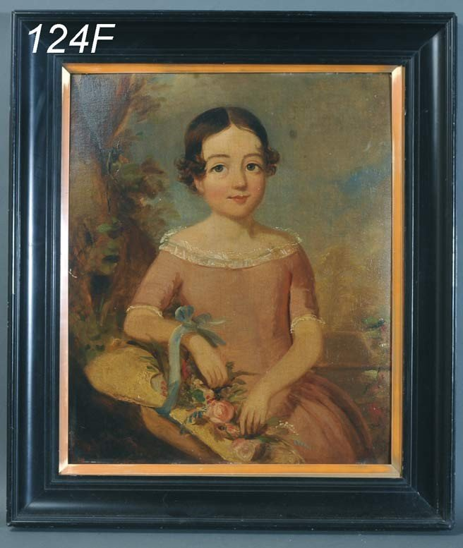 124F: ENGLISH SCHOOL Portrait of a Child with Flowers 2