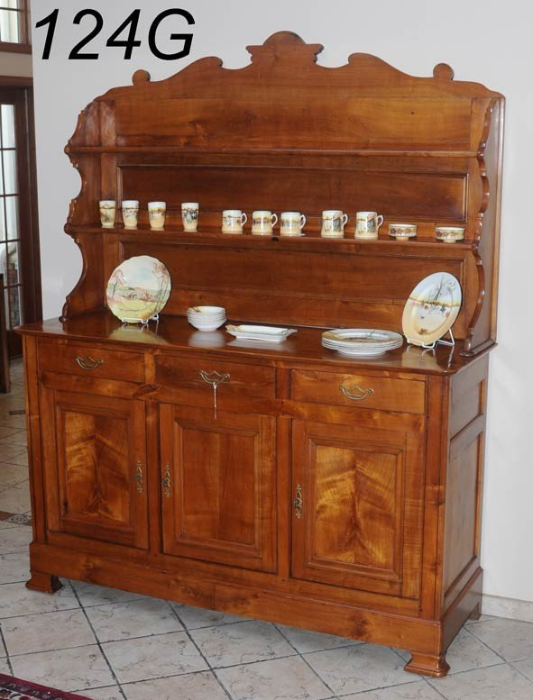 """124G: FRENCH CHERRY BUFFET with stubert top 80 1/2""""x 64"""