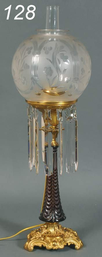 128: ASTRAL LAMP WITH CUT TO CLEAR BODY attributed to H