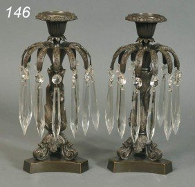 PAIR OF EMPIRE BRONZE CANDLESTICKS With Prisms, 11