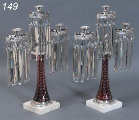 PAIR OF VICTORIAN SILVERED GARNITURES With Cranber