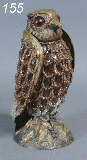 "BRONZE OWL BOUDOIR LAMP 11 1/2"" High Circa 1925"