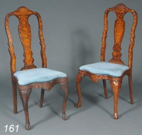 "PAIR OF SIMILAR DUTCH MARQUETRY SIDE CHAIRS 44"" Hi"