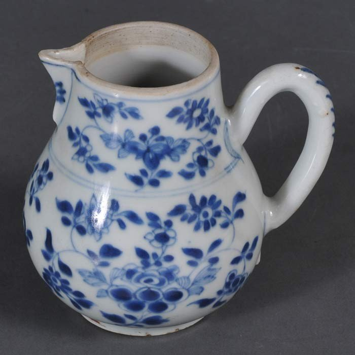 """182: CHINESE BLUE AND WHITE CREAMER 4 1/4"""" high Qing Dy"""