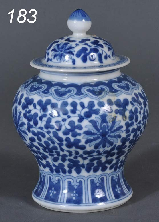 """183: CHINESE BLUE AND WHITE COVERED JAR 6 1/2"""" high 18t"""