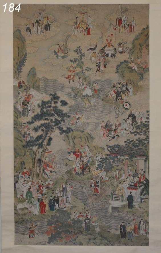 184: CHINESE SCROLL depicting the immortals on earth an