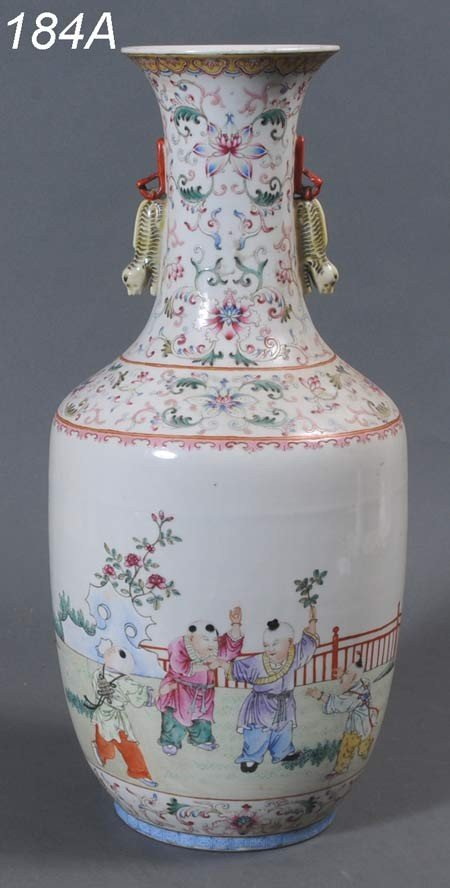 """184A: CHINESE FAMILE ROSE VASE 17"""" high, drilled for la"""