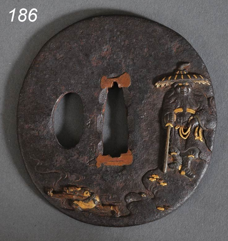 186: JAPANESE TSUBA (SWORD GUARD) iron with gold and si