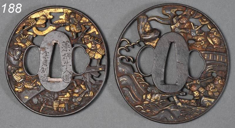 188: PAIR OF JAPANESE TSUBA (SWORD GUARDS) openwork, ir