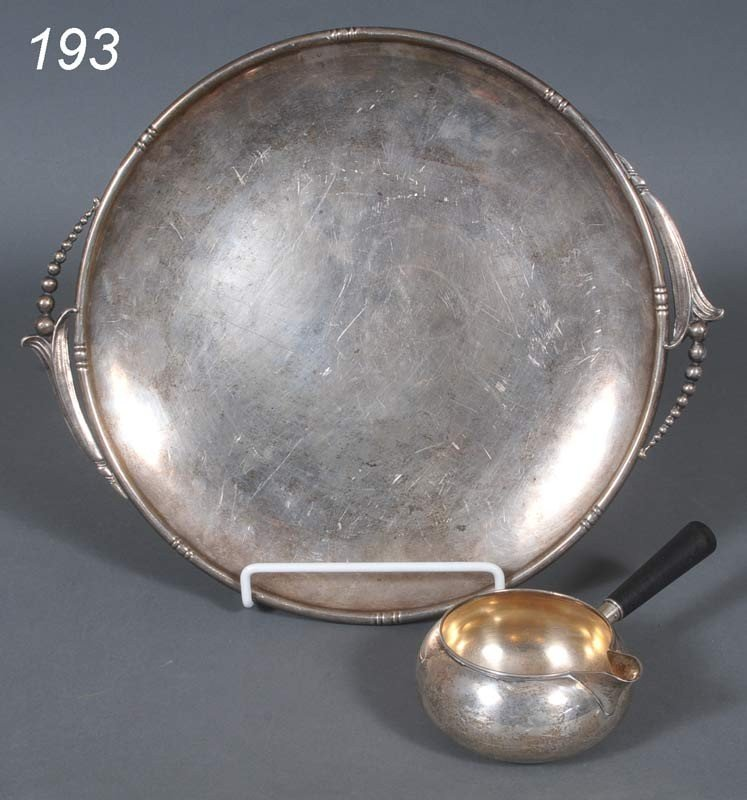 """193: STERLING TRAY, 14"""" wide together with a PORRINGER,"""