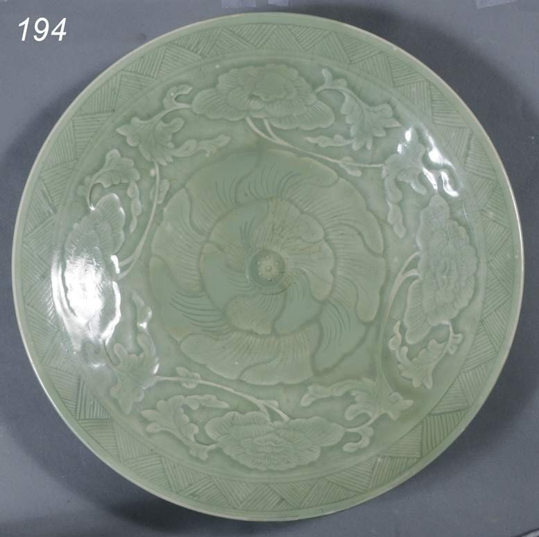 "194: CHINESE CELADON CHARGER 17 3/4"" diameter   Shippin"