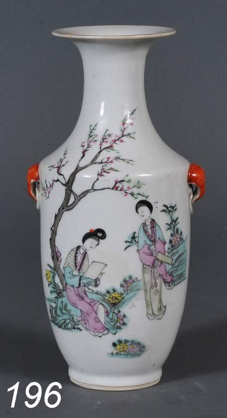 """196: CHINESE FAMILE VERTE VASE 9"""" high probably 19th ce"""
