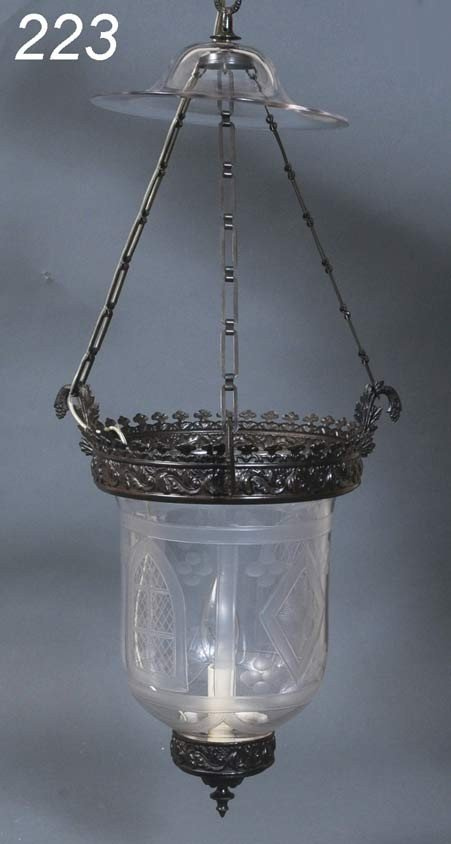 "223: BRONZE ETCHED GLASS HANGING LIGHT FIXTURE, 22"" lon"