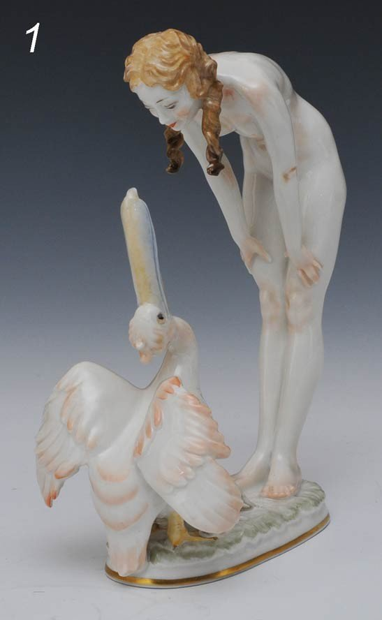 1: HUTSCHEREUTHER PORCELAIN  FIGURE OF A GIRL WITH PELI