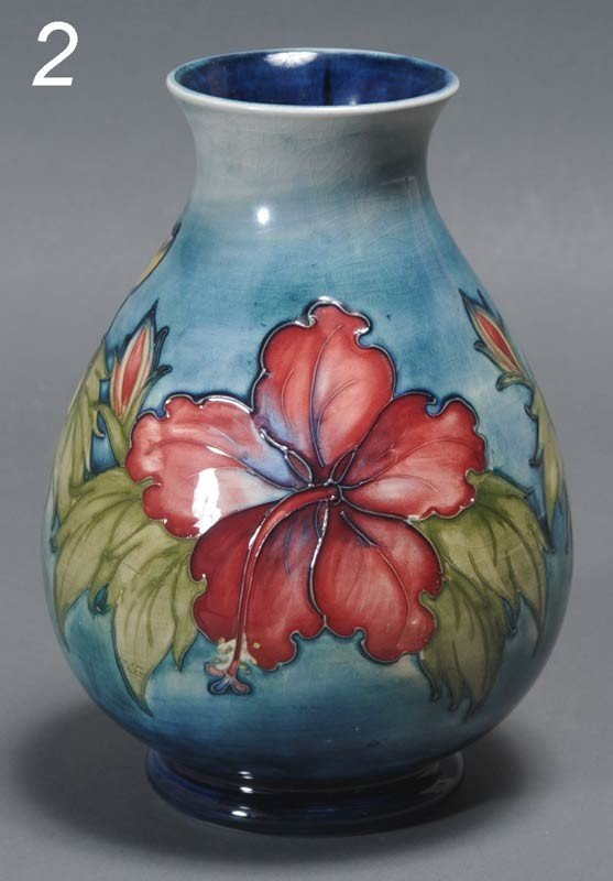 "2: MOORCROFT ART POTTERY VASE 8"" high early 20th centur"