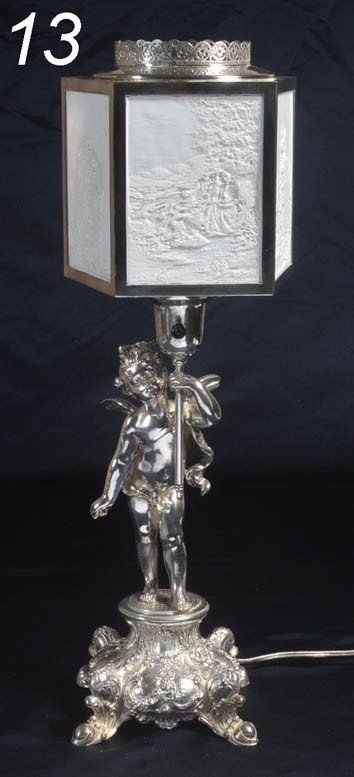 "13: LITHOPHANE LAMP WITH FIGURAL BASE 22"" high early 20"
