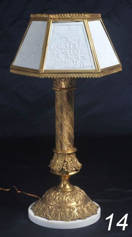 "14: VICTORIAN LITHOPANE LAMP with gilt base 22"" high"