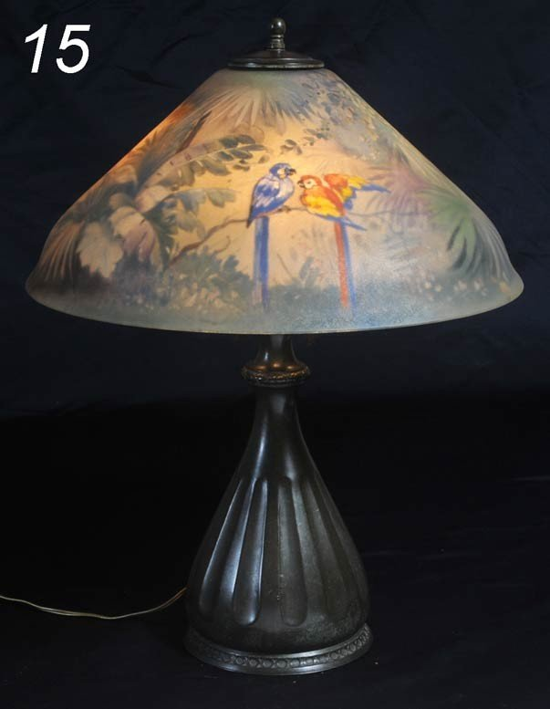 15: PAIRPOINT JUNGLE BIRDS LAMP with reverse painted sh