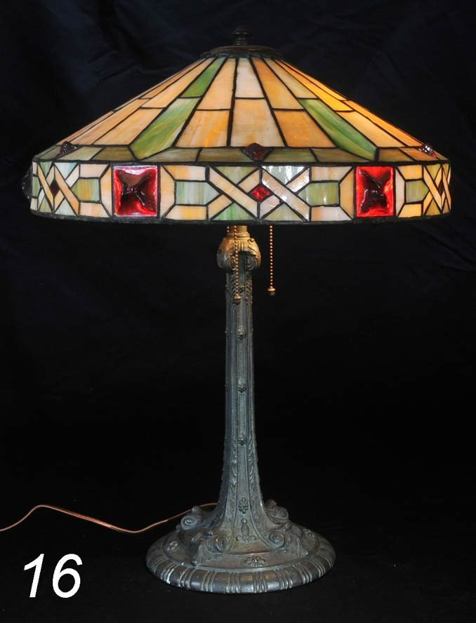 "16: WILKENSON LEADED GLASS LAMP with bronze base 18"" di"
