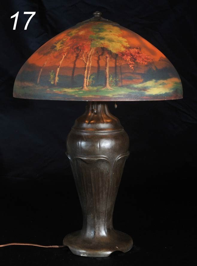 17: HANDEL REVERSE PAINTED LAMP with scenic shade 17 3/