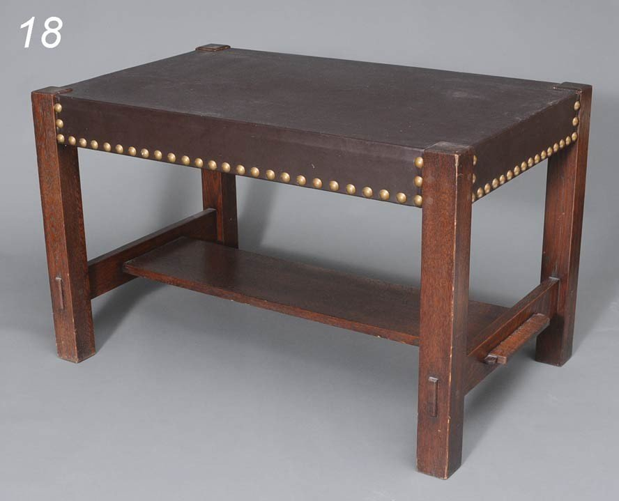 18: EARLY GUSTAV STICKLEY LIBRARY TABLE with leather to
